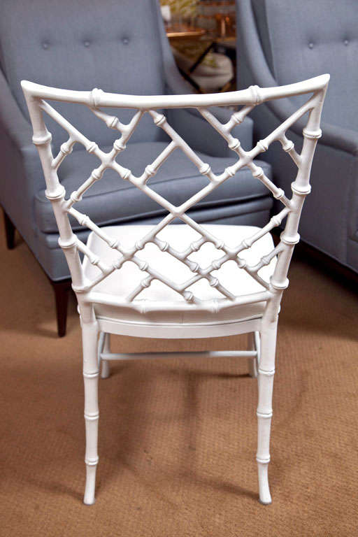 Set of 4 Faux Bamboo Chairs For Sale 1