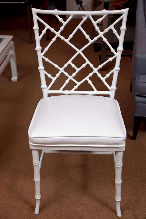 Set of 4 Faux Bamboo Chairs For Sale 2