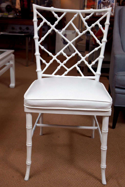 Set of 4 Faux Bamboo Chairs For Sale 3