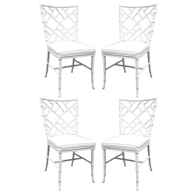 Set of 4 Faux Bamboo Chairs For Sale