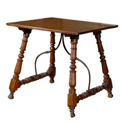 Petite 19th Century, Spanish Fratino Table with Iron Stretcher and Turned Legs