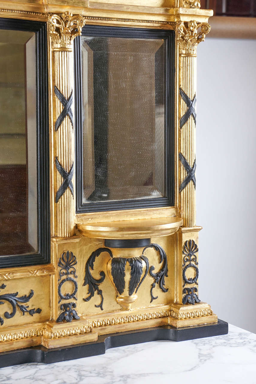Fine English Regency Parcel-Ebonized Giltwood Mirror, circa 1800 5