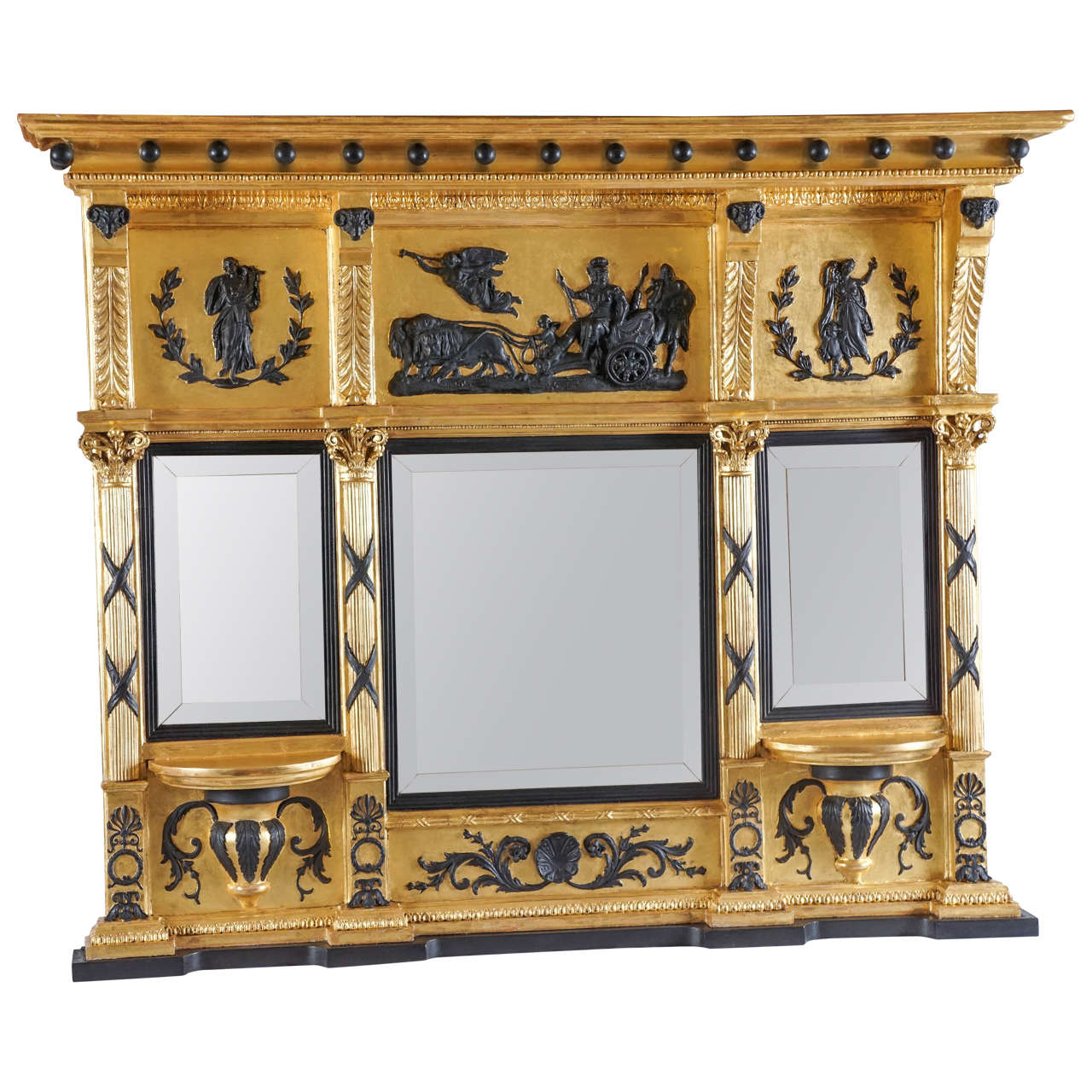 Fine English Regency Parcel-Ebonized Giltwood Mirror, circa 1800 1