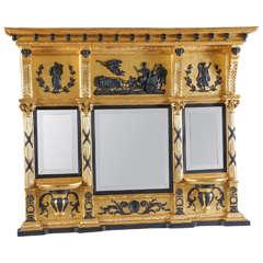 English Regency Parcel-Ebonized Giltwood Mirror, circa 1800