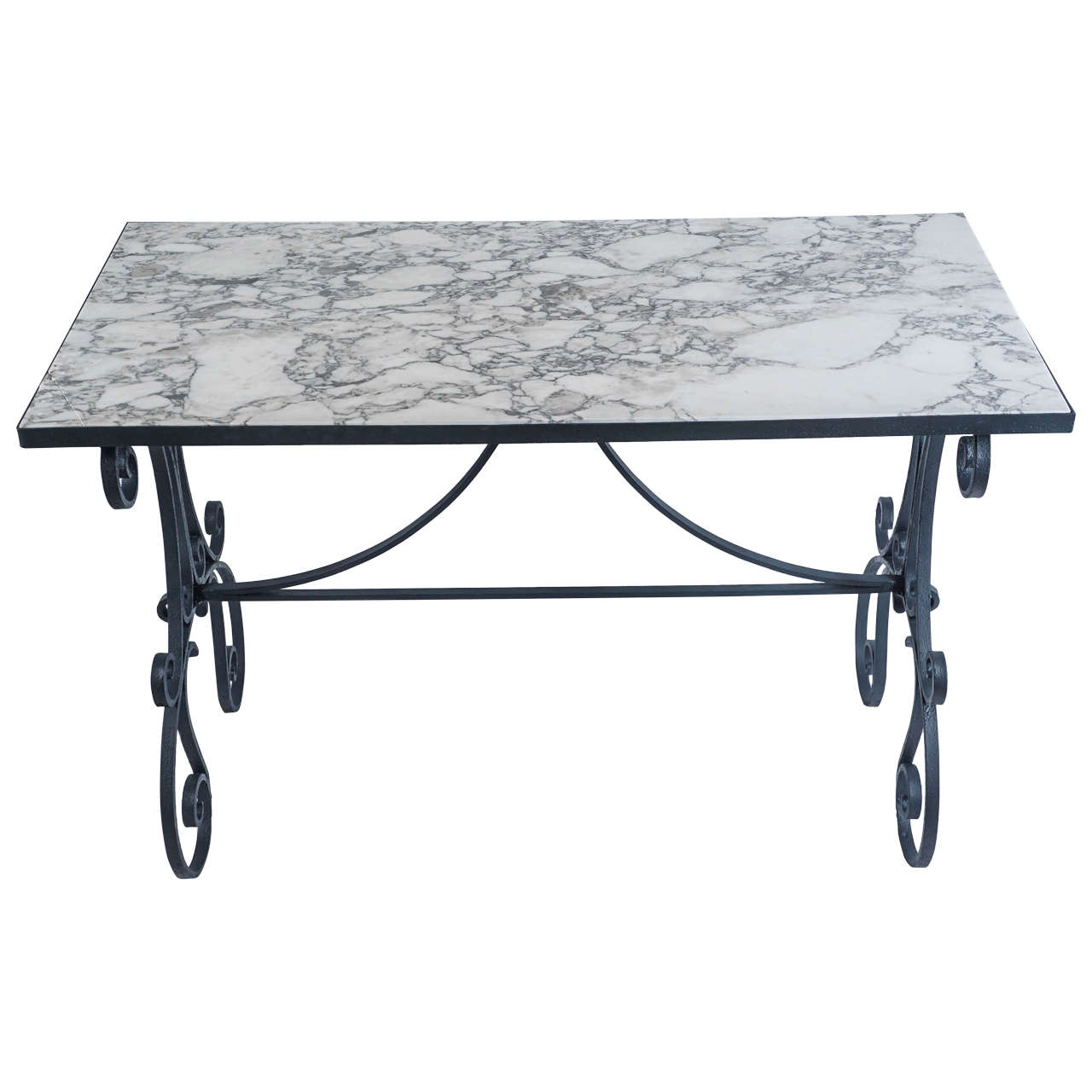 Arabescato Marble Top, Wrought Iron Garden Table, France, Circa 1890