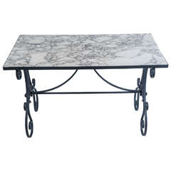 Arabescato Marble-Top, Wrought Iron Garden Table, France, circa 1890