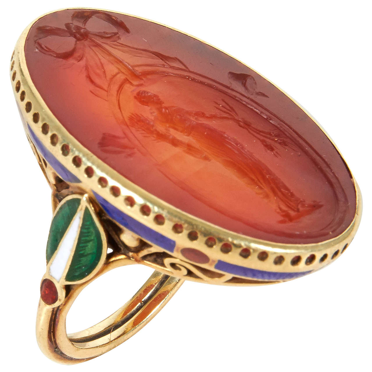 Carnelian gold and enamel intaglio ring by marie for The jewelry and metalwork of marie zimmermann