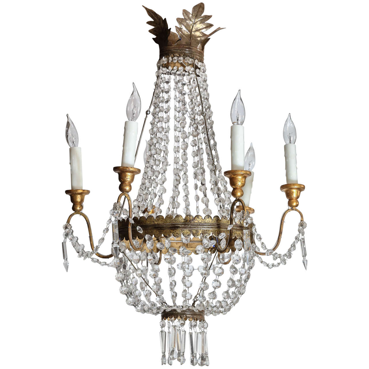 Italian vintage metal and wood crystal chandelier with six arms for italian vintage metal and wood crystal chandelier with six arms for sale arubaitofo Choice Image