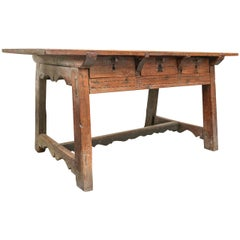 17th Century, Italian Walnut Table with Three Drawers
