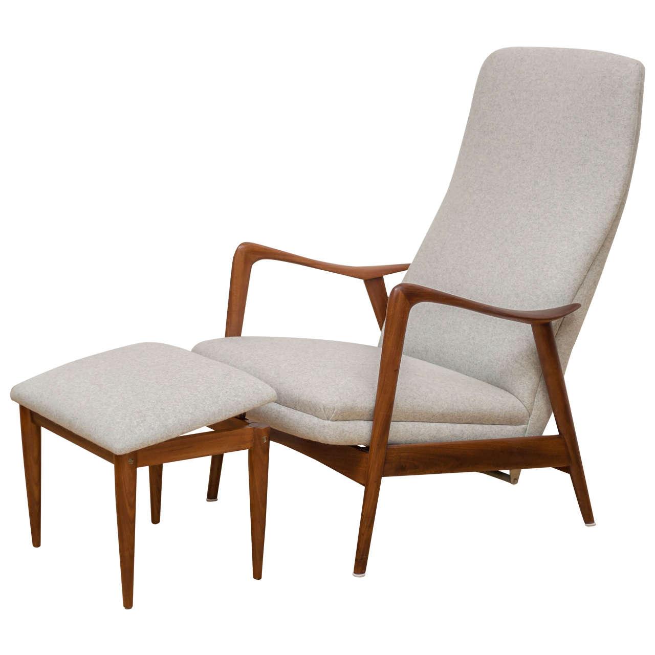 Westnofa Teak Chair And Ottoman At 1stdibs