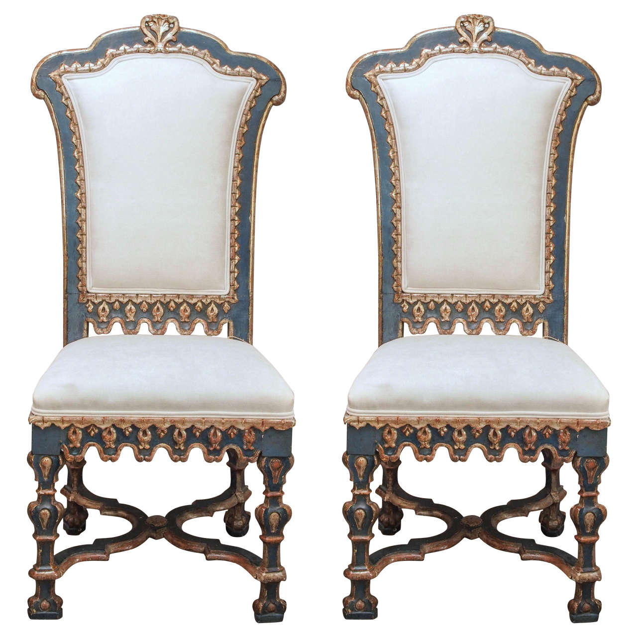 Pair of Italian Baroque Side Chairs 1