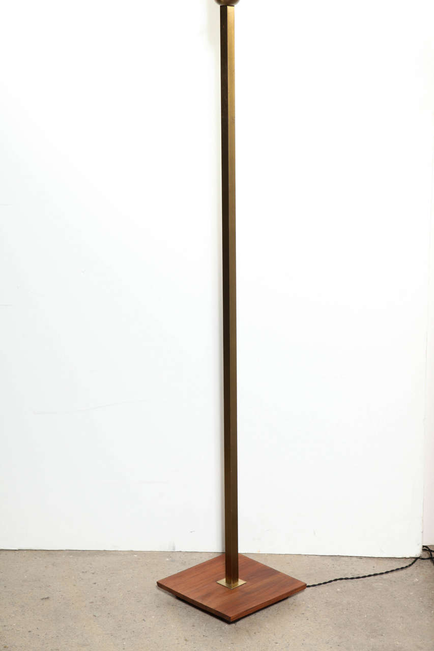 1950s nessen studios brass walnut floor lamp with white for 1950 s brass floor lamp