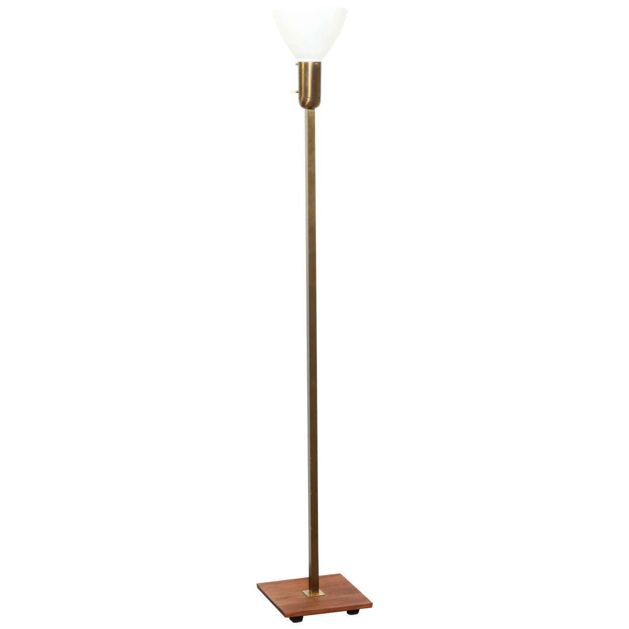 1950s nessen studios brass walnut floor lamp with white for 1950s floor lamps