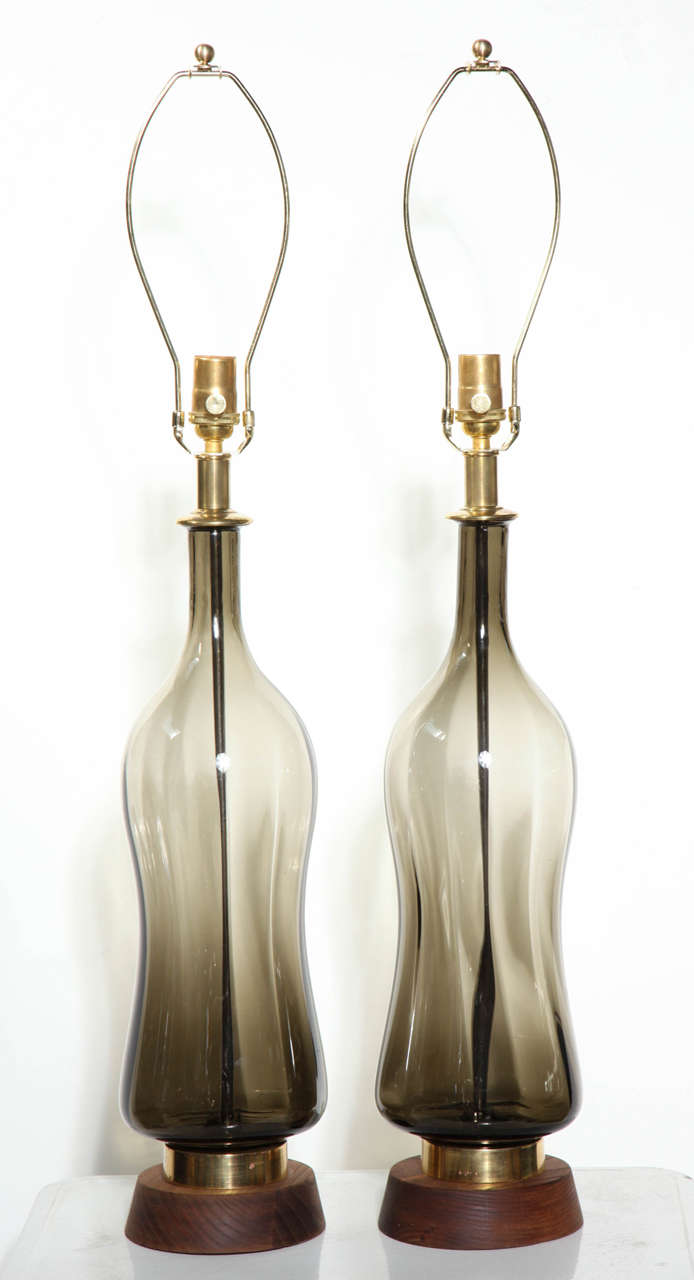 Substantial Pair of Blenko Translucent Earthen Smoked Glass Table Lamps, 1950s 2