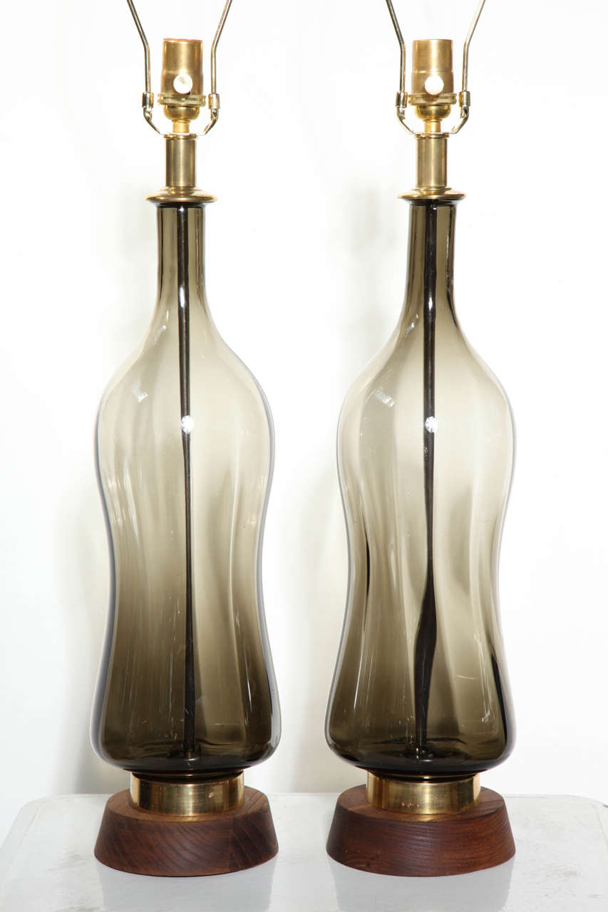 Substantial Pair of Blenko Translucent Earthen Smoked Glass Table Lamps, 1950s 3