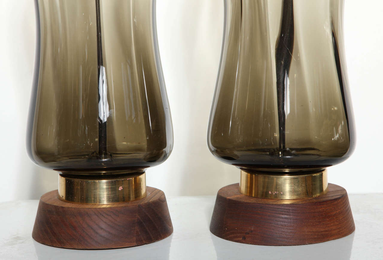 Substantial Pair of Blenko Translucent Earthen Smoked Glass Table Lamps, 1950s 4