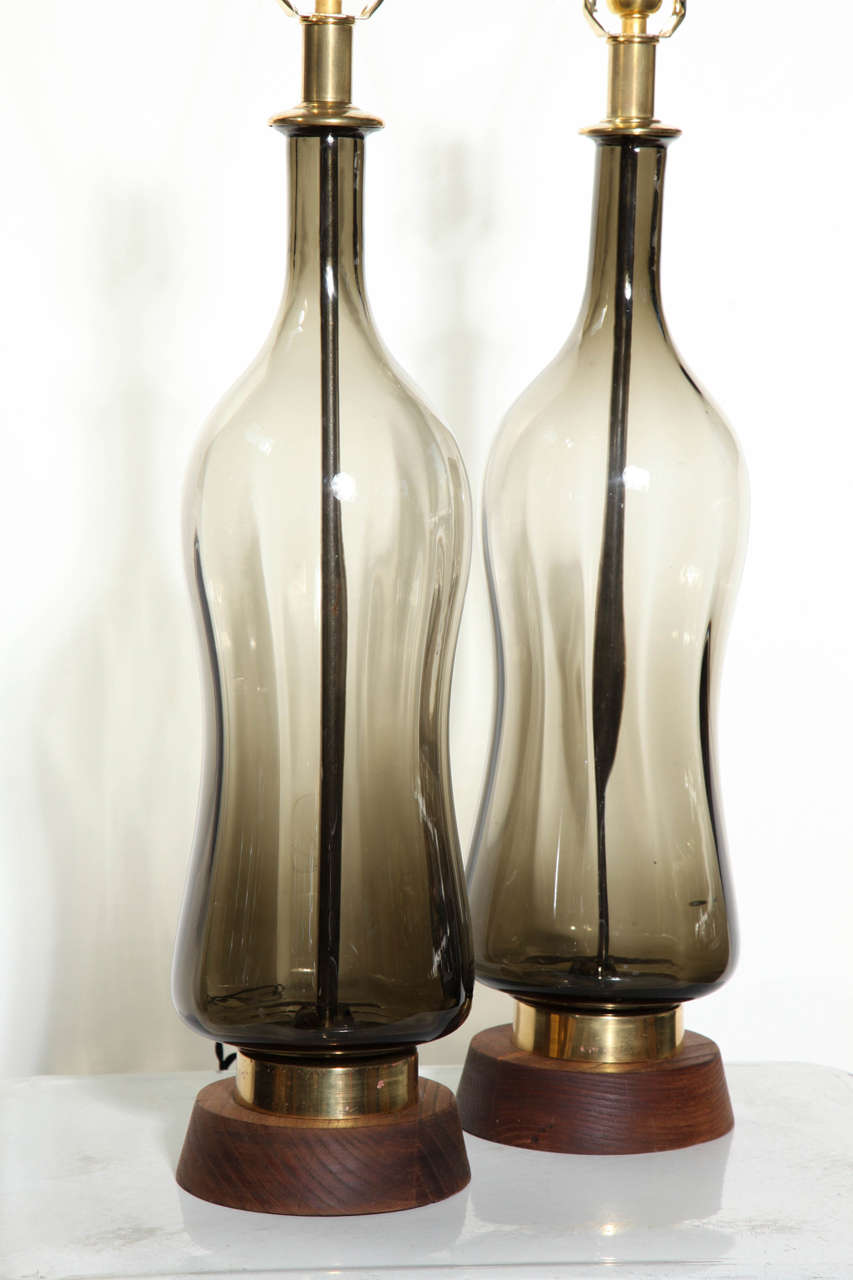 Substantial Pair of Blenko Translucent Earthen Smoked Glass Table Lamps, 1950s 7