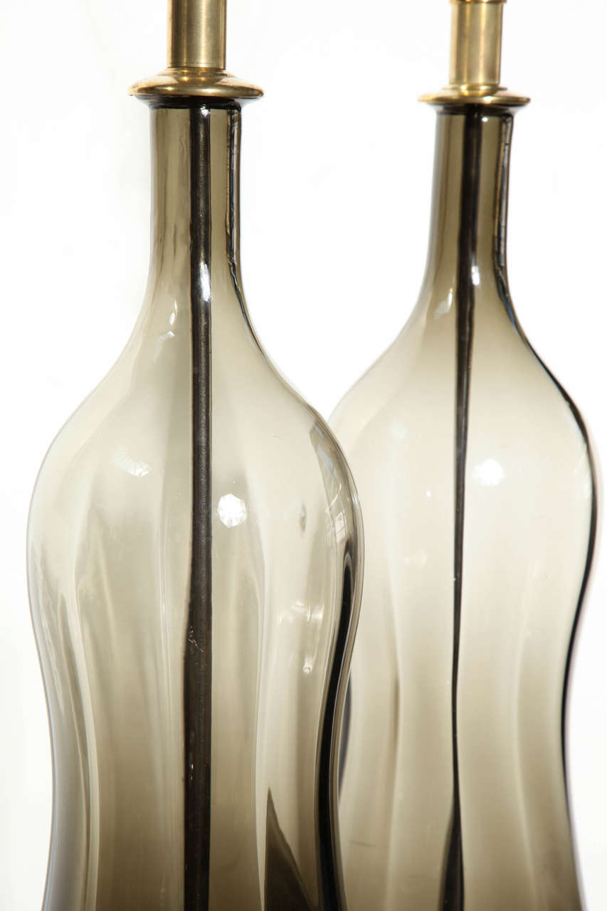 Substantial Pair of Blenko Translucent Earthen Smoked Glass Table Lamps, 1950s 8