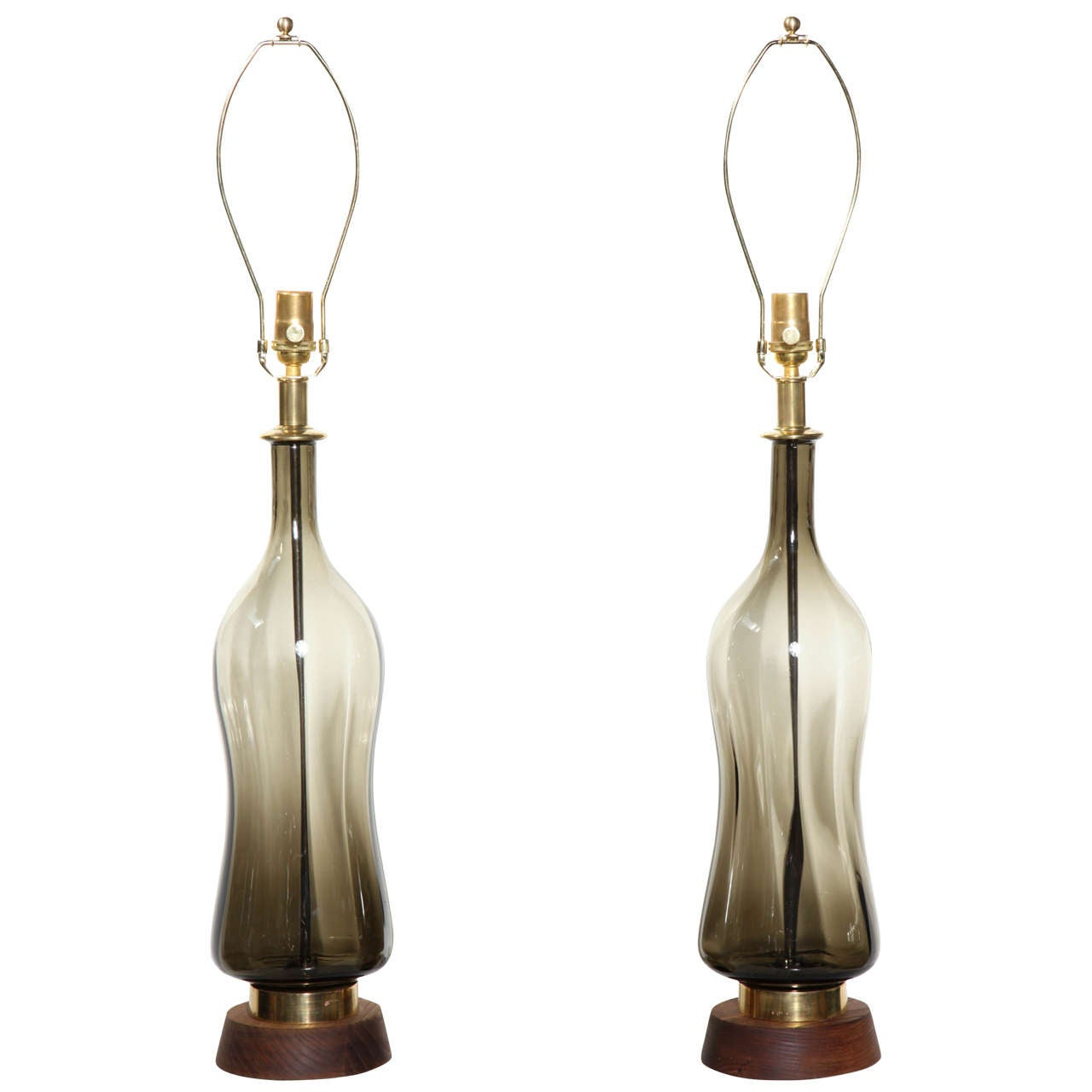 Substantial Pair of Blenko Translucent Earthen Smoked Glass Table Lamps, 1950s 1