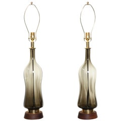 Monumental Pair of Blenko Olive Hourglass Glass Table Lamps, 1950s