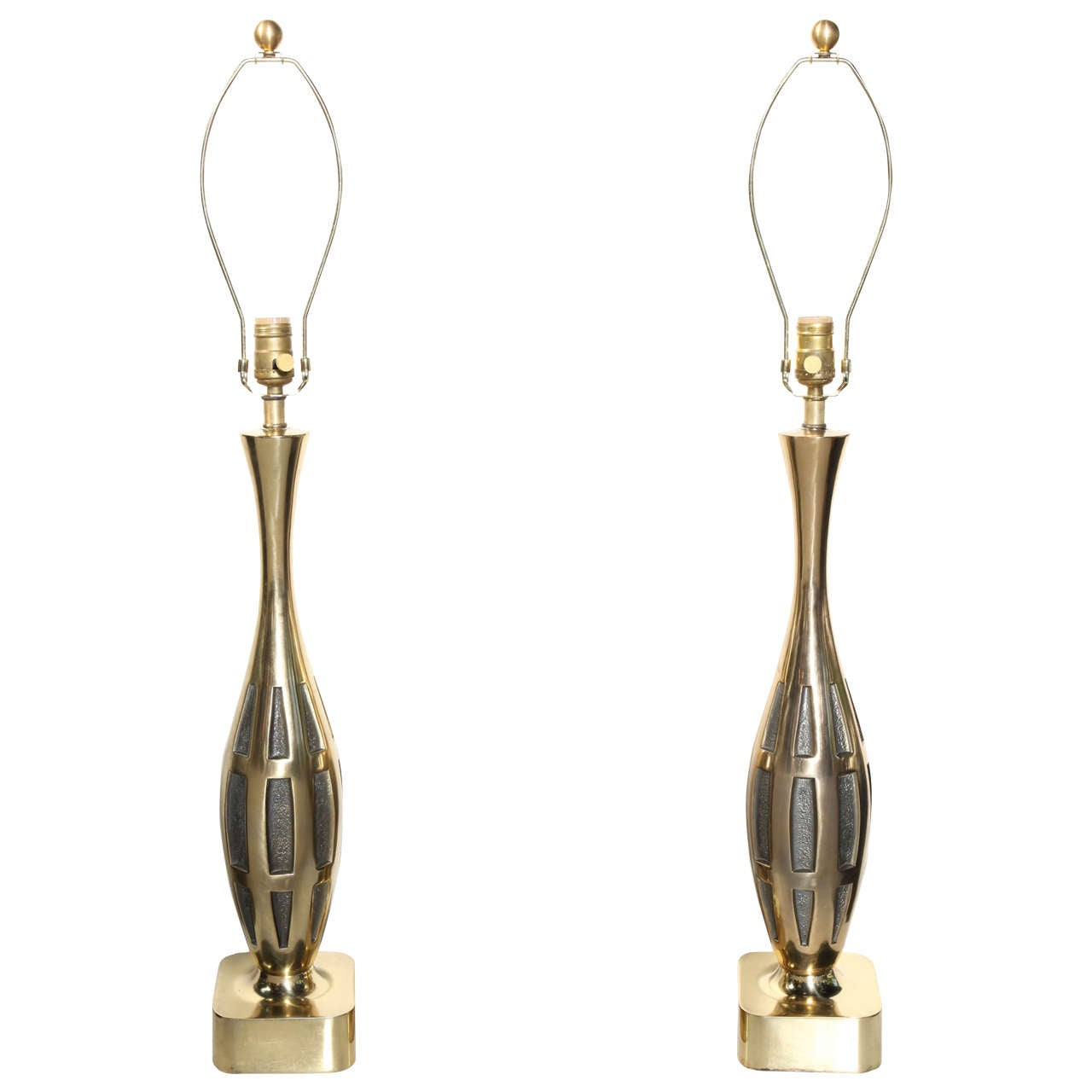 Pair of Westwood Studios Brutalist Brass Table Lamps, circa 1950s