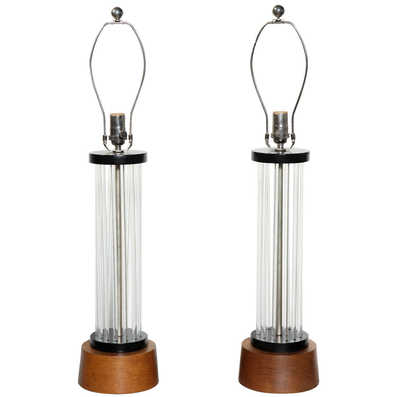 Pair of Clear Lucite Rod, Black Enamel and Walnut Column Table Lamps, C. 1940