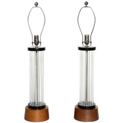 Pair of Column Table Lamps with Clear Lucite Rods, Walnut & Black Enamel, 1930s