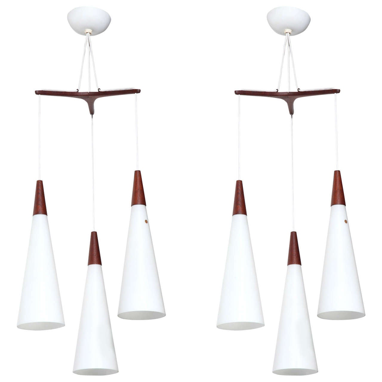 Pair of Holmegaard Glasvaerk Triple White Milk Glass Hanging Pendants, 1950s