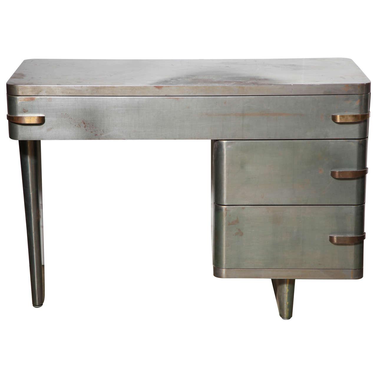 1940s Royal Chrome Machine Age Metal Desk For