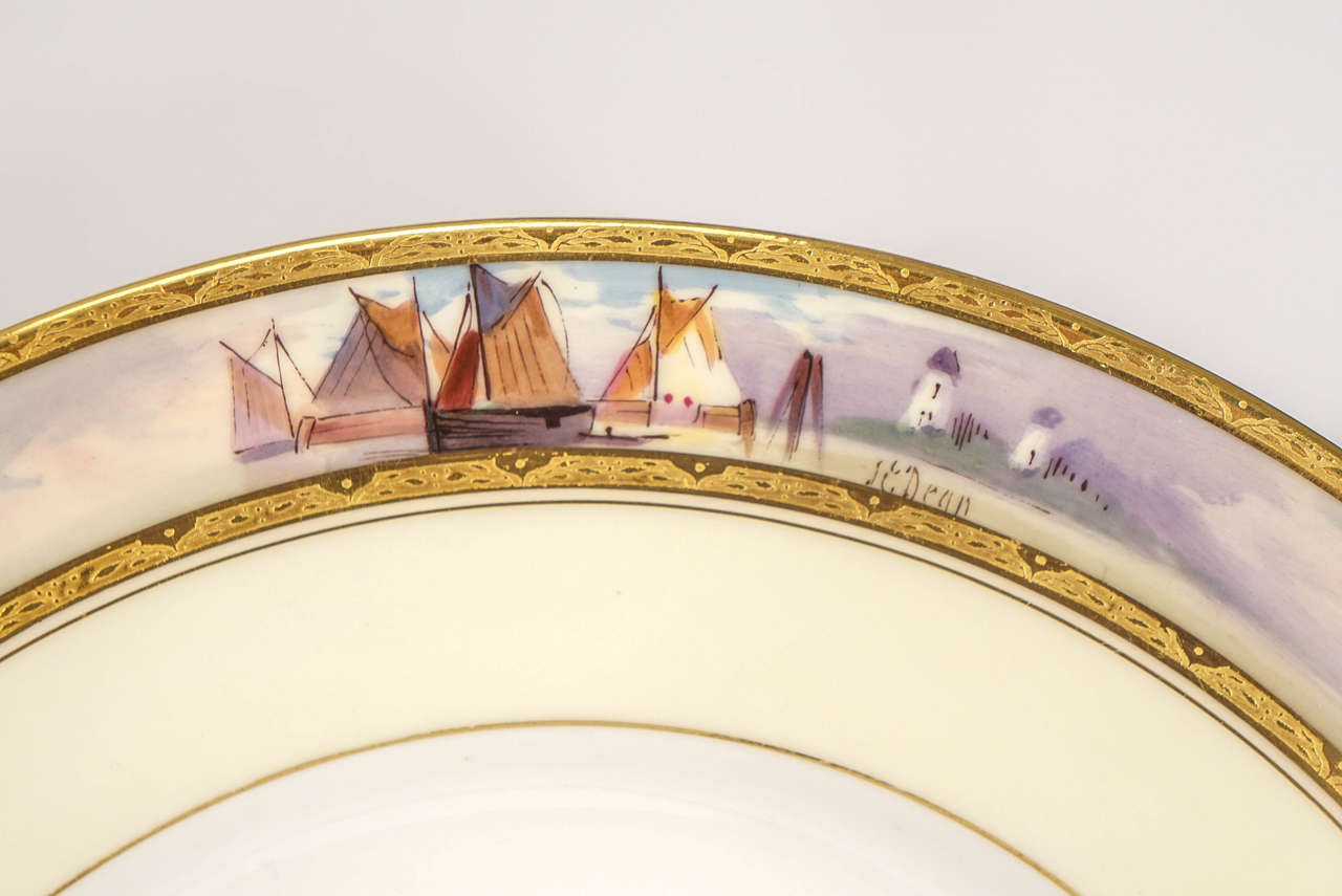 Early 20th Century 12 Minton Dinner Plates Hand-Painted Nautical Maritime Motif  Signed J E Dean For Sale