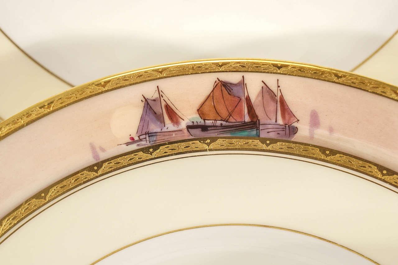 Porcelain 12 Minton Dinner Plates Hand-Painted Nautical Maritime Motif  Signed J E Dean For Sale