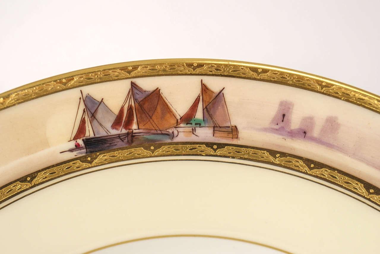 12 Minton Dinner Plates Hand-Painted Nautical Maritime Motif  Signed J E Dean For Sale 2