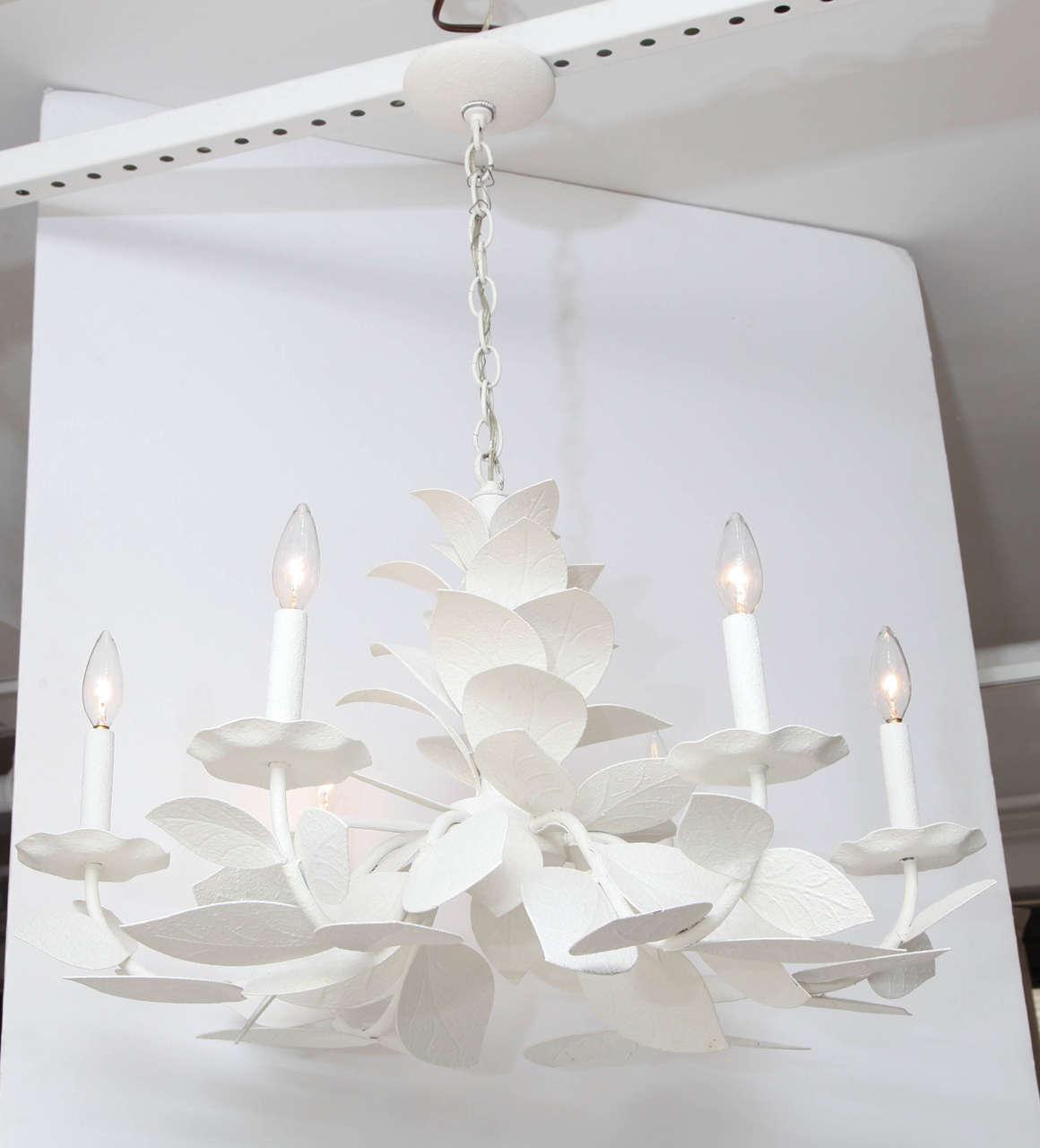Painted metal leaf chandelier at 1stdibs painted metal leaf chandelier 2 arubaitofo Images