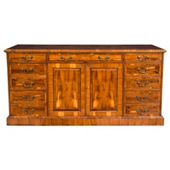 Custom English Yew Wood Credenza with File Drawers