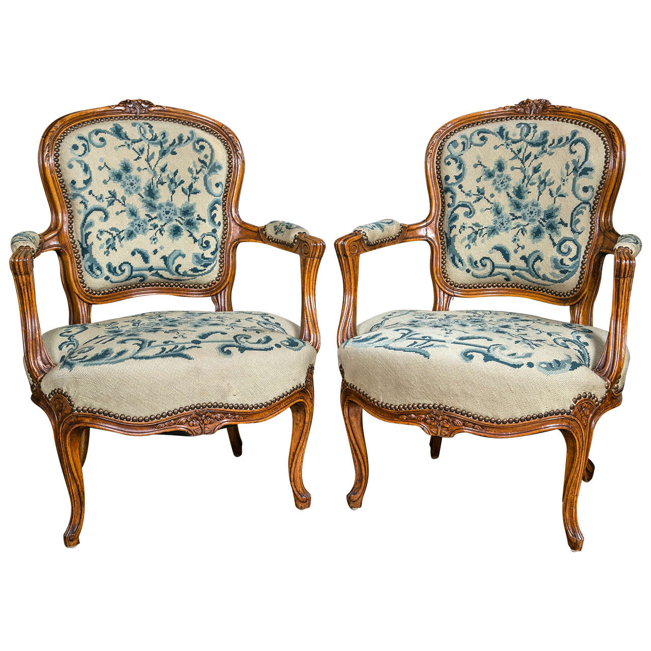 Pair of louis xv style fauteuil chairs for sale at 1stdibs - Fauteuil style louis xv ...