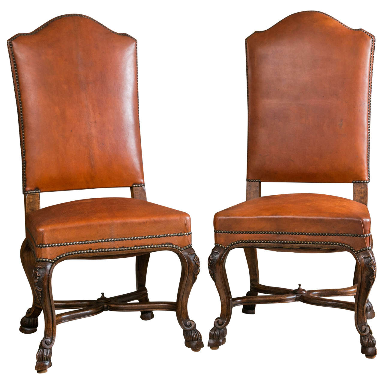 Set Of Ten Italian Leather Upholstered Chairs For Sale At
