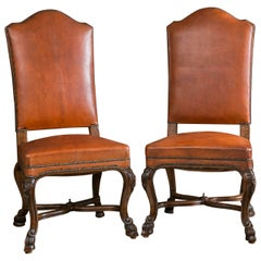 Set of Ten Italian Leather Upholstered Chairs