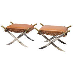 Pair of Mid-20th Century Campaign Style Sword Benches