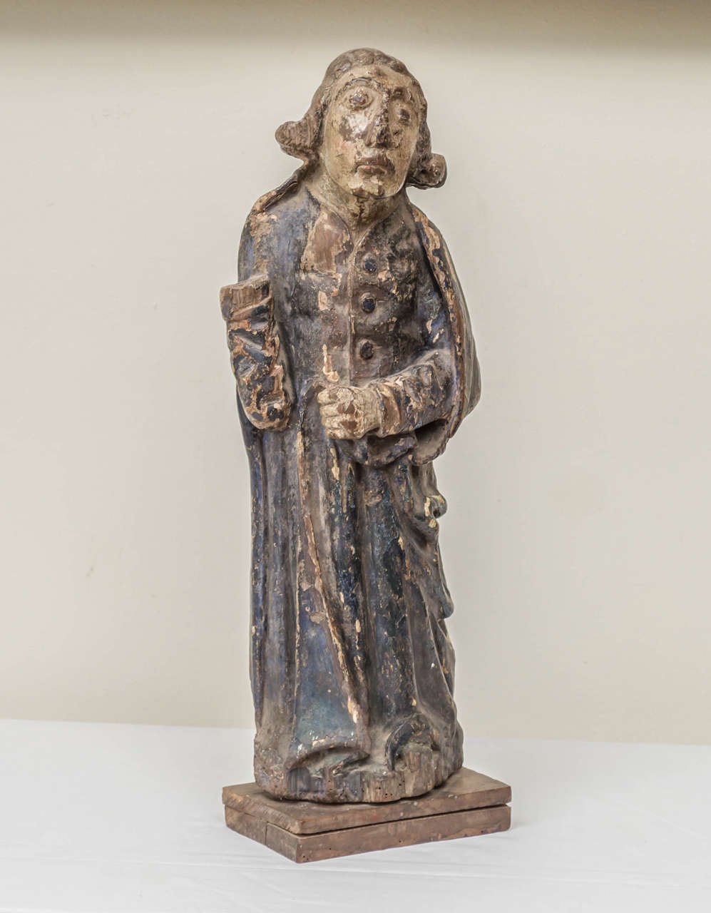 16th century French oak polychrome statue of Saint Maudez. A Breton saint from the 5th-6th century who founded a monastery off the coast of Brittany. Saint Maudez was said to have banished snakes, reptiles and worms.