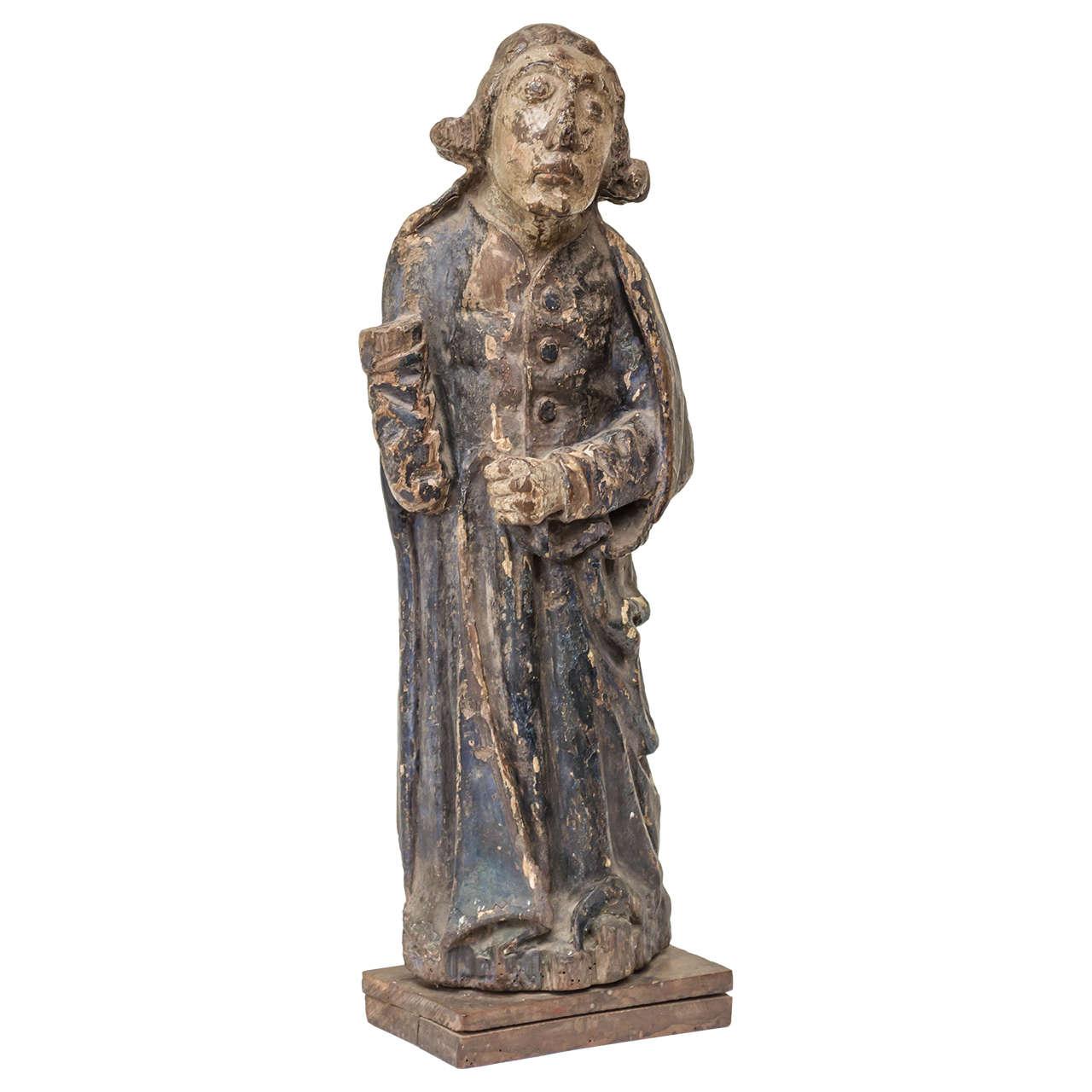 16th Century French Oak Polychrome Statue of Saint Maudez For Sale