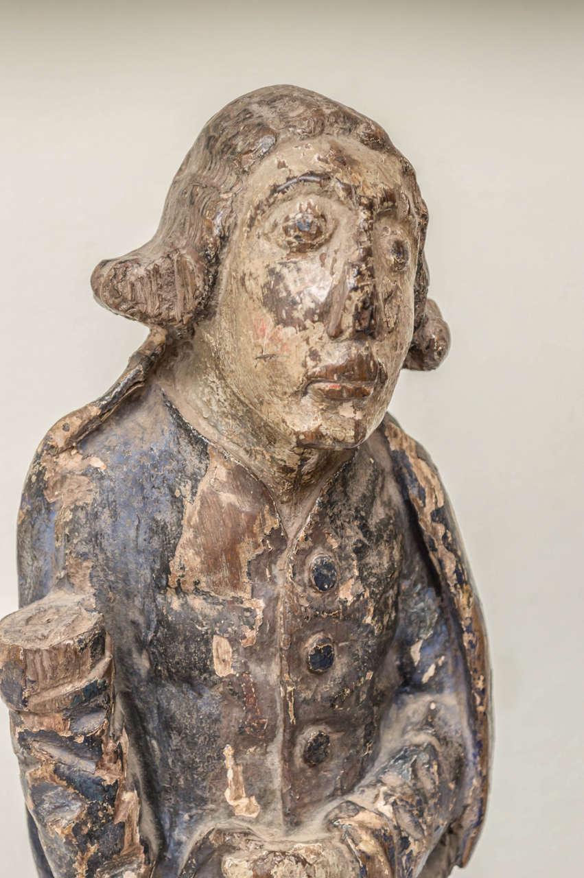 Gothic 16th Century French Oak Polychrome Statue of Saint Maudez For Sale