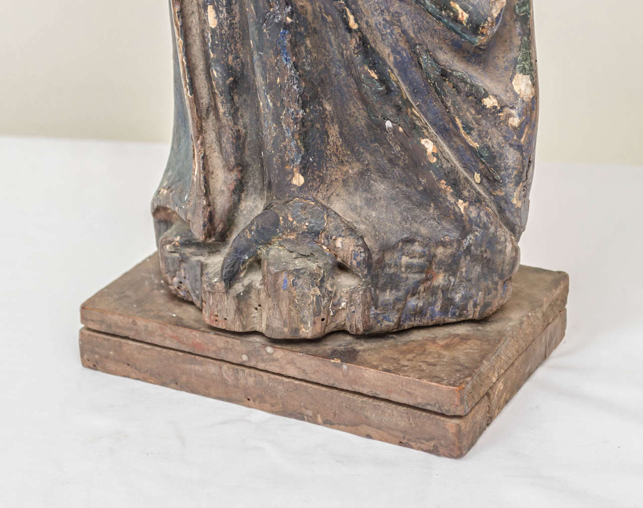 18th Century and Earlier 16th Century French Oak Polychrome Statue of Saint Maudez For Sale