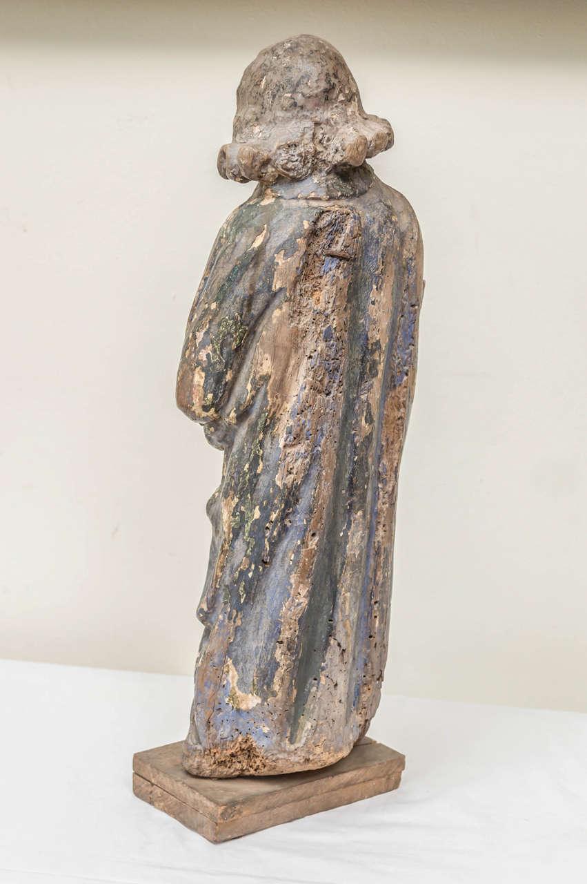 Gesso 16th Century French Oak Polychrome Statue of Saint Maudez For Sale