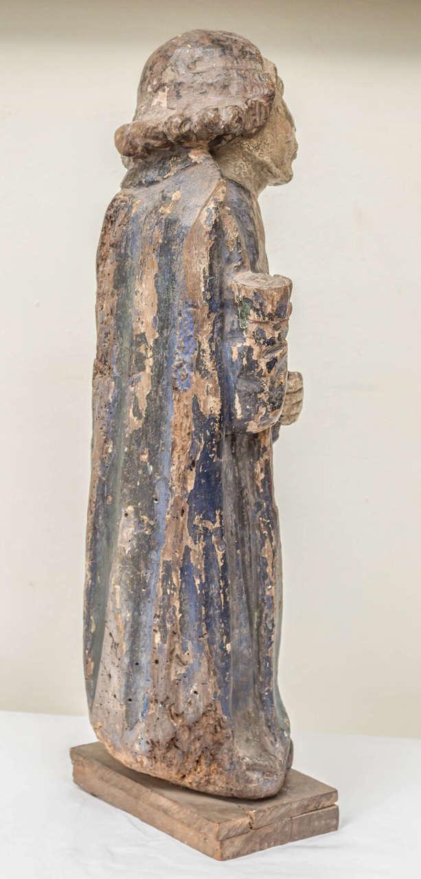 16th Century French Oak Polychrome Statue of Saint Maudez For Sale 3