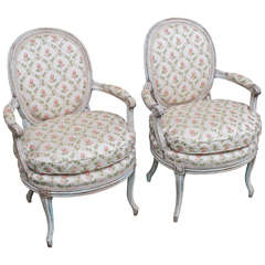 Pair of Louis XVI Style Transitional Painted Fauteuils, France, circa 1880