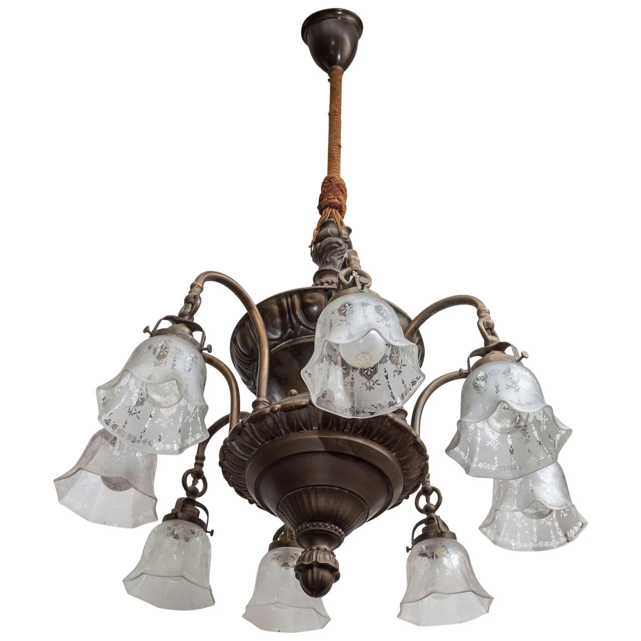 American Eight-Arm Edwardian Period Chandelier with Period Etched Shades