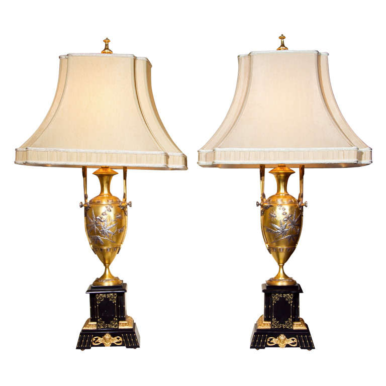 Pair of Art Nouveau Bronze Lamps