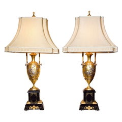 Pair of French Bronze Table Lamps Ebony Base Art Nouveau Style With Linen Shades