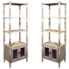 Pair Swedish Style Painted Étagerè, Cupboard Three Shelf With Mylar Mirror Doors