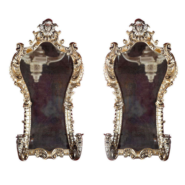 Pair of French Rococo Style Silver Gilt Mirrors or Sconces